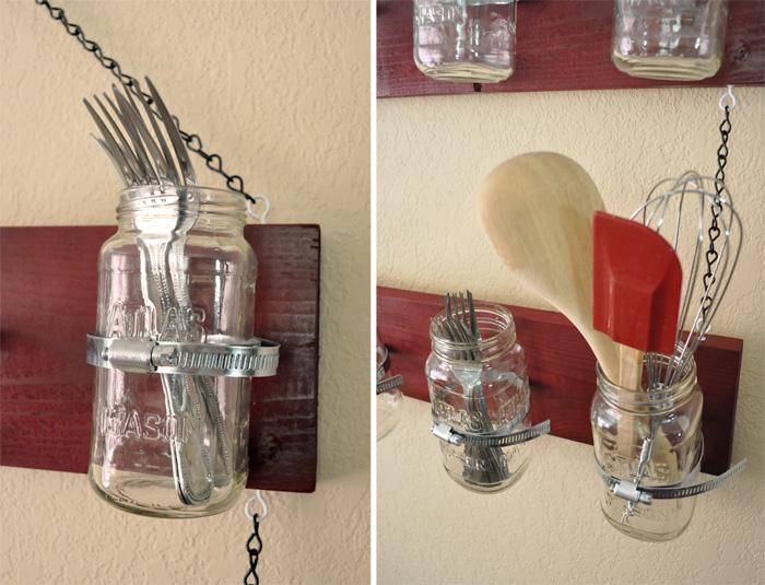 Mason jar hanging shelf for Mason jar kitchen ideas