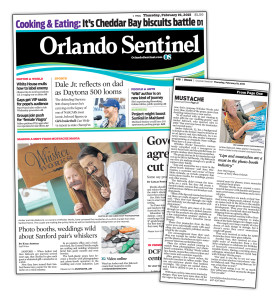 Whisker Works graces the cover of the Orlando Sentinel, February 19, 2015.