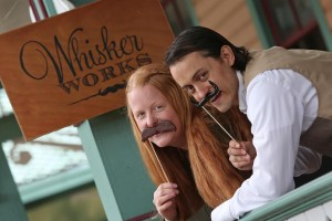 Amber and Alex Babcock, co-owners of Whisker Works, have cornered the mustache-on-a-stick market from their Sanford home. The couple are making the quirky items as well as marketing and selling them on the Internet. (Red Huber / Orlando Sentinel)